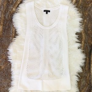 Banana Republic White Mesh Knit Sleeveless Top
